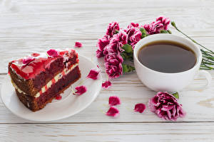 Image Coffee Carnations Torte Wood planks Cup Petals Pieces