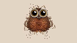 壁纸、、コーヒー、クリエイティブ、フクロウ、穀物、ティーカップ、
