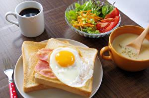 壁纸、、コーヒー、サラダ、パン、朝食、ティーカップ、目玉焼き、