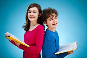 Photo Colored background 2 Boys Little girls Glance Books Children