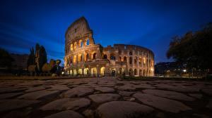 壁纸、、コロッセオ、石、イタリア、ローマ、歩道、夜、