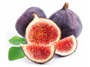 Picture Figs Closeup White background Pieces Food