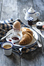 Image Croissant Coffee Fruit preserves Wood planks Breakfast Eggs Plate Highball glass