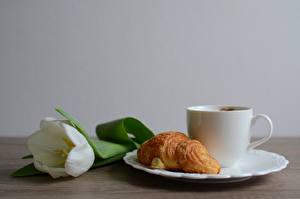 Papéis de parede Croissant Tulipas Prato Chávena Alimentos