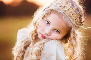Photo Crown Face Staring Blonde girl Little girls Hair Cute Children