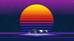 Bilder DeLorean Retrowave Sonne Autos