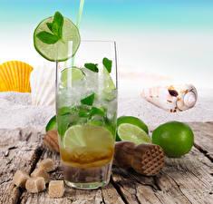 Images Drinks Lime Shells Wood planks Highball glass Sugar Food