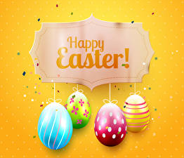 Pictures Easter Colored background Eggs English Design