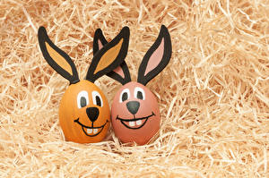 Pictures Easter Creative Rabbits Eggs Straw 2