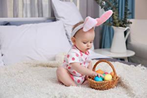 Wallpaper Easter Egg Wicker basket Baby child