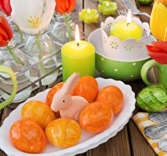 Hintergrundbilder Ostern Kaninchen Kerzen Eier