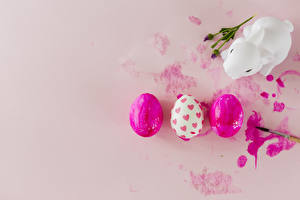 Wallpaper Easter Rabbits Colored background Eggs Three 3 Heart