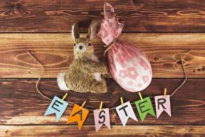 Hintergrundbilder Ostern Kaninchen Bretter Ei Englisch
