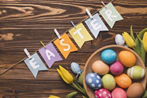 Photo Easter Tulips Wood planks Eggs English Multicolor