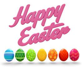 Hintergrundbilder Ostern Weißer hintergrund Englische Eier Mehrfarbige