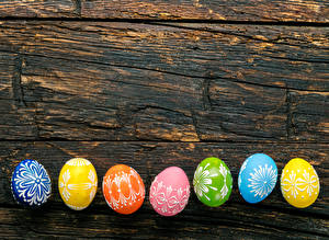 Bilder Ostern Bretter Eier Design Mehrfarbige