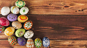 Picture Easter Wood planks Eggs Multicolor Design