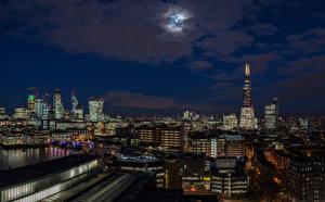 壁纸、、イングランド、住宅、空、ロンドン、夜、月、