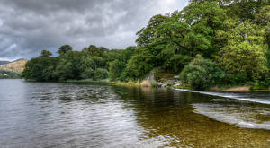 Hintergrundbilder England Flusse Küste Strauch Bäume Grassmere Natur