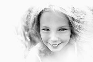 Pictures Face Black and white Lovely Little girls Smile Staring