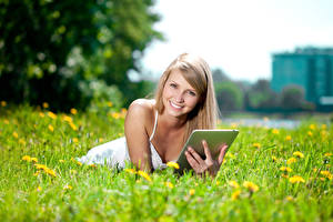 Pictures Fields Tablet PC Blonde girl Smile Staring Girls