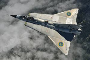 Pictures Fighter Airplane Airplane From above Saab 35 Draken Swedish