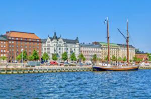 Fotos Finnland Helsinki Gebäude Fluss Schiffsanleger Schiff Segeln