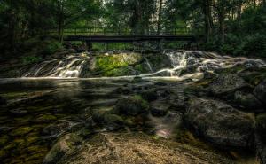 Pictures Finland Rivers Bridge Stones Moss HDR Karkkila Nature