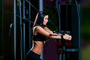 Hintergrundbilder Fitness Brünette Körperliche Aktivität Mädchens