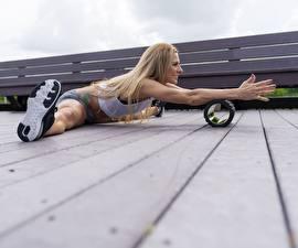 Pictures Fitness Legs Hands Split gym Wood planks Blonde girl Sport Girls