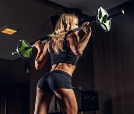 Pictures Fitness Shorts Barbell Blonde girl Ass buttocks Sport Girls