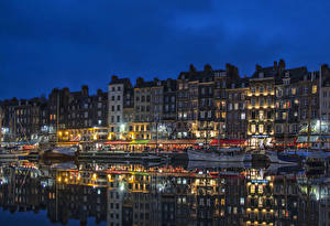 Photo France Building Rivers Marinas Evening Riverboat Honfleur Lower Normandy Cities