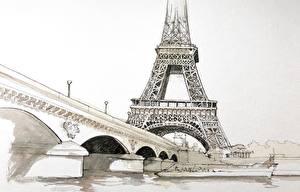 Sfondi desktop Francia Disegnate Pittura Torre Eiffel Parigi  Città