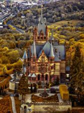 Images Germany Castle Autumn Landscape design Drachenburg Castle