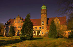 壁纸、、ドイツ、城、ハイダイナミックレンジ合成、トウヒ属、Castle Ulenburg、