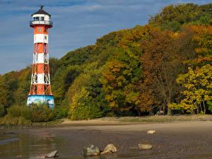 Images Germany Hamburg Autumn Coast Lighthouses Stones Trees Blankenese Nature