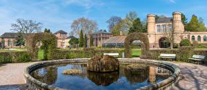 Fondos de Pantalla Alemania Parque Fuente Edificio Palacio Arbusto Banco (mueble) Botanischer Garten Karlsruhe Ciudades