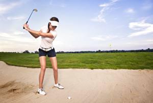 Bilder Golf Sand Schlagen Mädchens