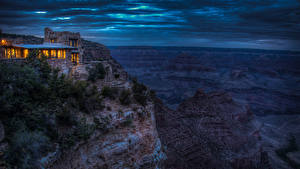 Pictures Grand Canyon Park Parks Mountains Building Evening Crag