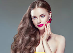 Pictures Gray background Brown haired Hair Red lips Hands Manicure Glance Girls