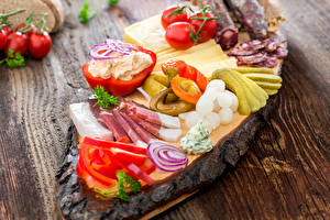 Picture Ham Vegetables Pepper Tomatoes Cucumbers Wood planks