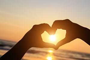 Bilder Herz Sonne Hand Silhouetten Natur
