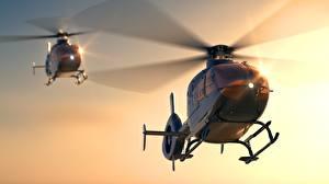 Sfondi desktop Elicottero Due 2 Eurocopter EC 135 Aviazione