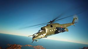 Picture Helicopters War Thunder Flight Russian Mil Mi-24 D Aviation 3D_Graphics