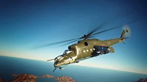 Sfondi desktop Elicotteri War Thunder Volante Russo Mil Mi-24 D Grafica_3D