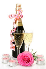 Wallpapers Holidays Champagne Roses Candles White background Bottles Stemware Pink color Ribbon Food