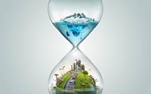 Фотографии Песочные часы Креативные 3D Графика