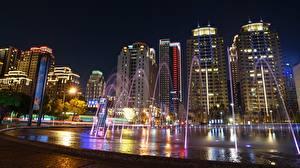 Hintergrundbilder Haus Springbrunnen Taipeh China Nacht Städte