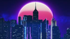 壁纸、、建物、超高層建築物、レトロウェイヴ、月、夜、By SynthEx、