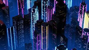 壁纸、、建物、超高層建築物、レトロウェイヴ、夜、By SynthEx、都市